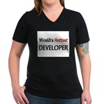 World's Hottest Developer Women's V-Neck Dark T-Sh