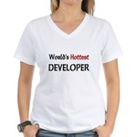 World's Hottest Developer Women's V-Neck T-Shirt