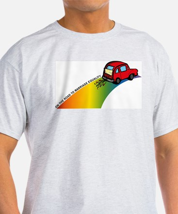 Road to Gay Marriage Ash Grey T-Shirt