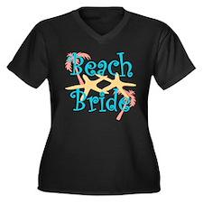 Beach Bride Women's Plus Size V-Neck Dark T-Shirt