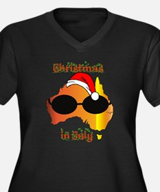 Christmas in July Women's Plus Size V-Neck Dark T-