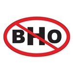 NO BHO Oval Sticker (10 pk)