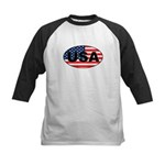 USA Flag in Oval Kids Baseball Jersey