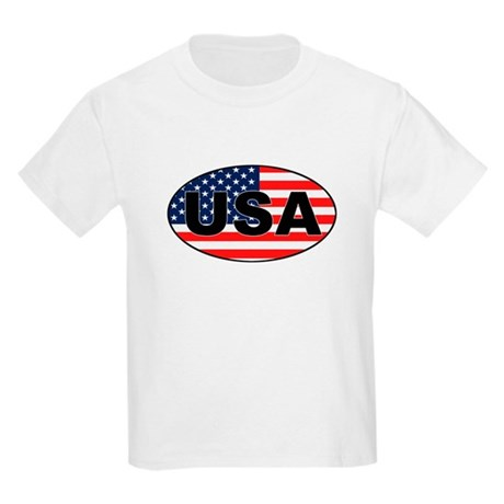 USA Flag in Oval Kids T-Shirt