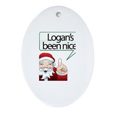 Logan's Been Nice Oval Ornament