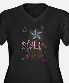 punk star Women's Plus Size V-Neck Dark T-Shirt