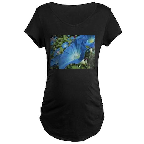Blue Morning Glory Maternity Dark T-Shirt