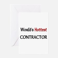 World's Hottest Contractor Greeting Cards (Pk of 1