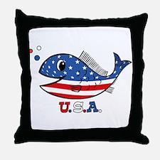 American Fishy Throw Pillow