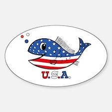 American Fishy Oval Decal