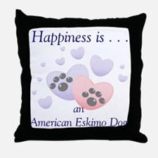 Happiness is...an American Eskimo Dog Throw Pillow