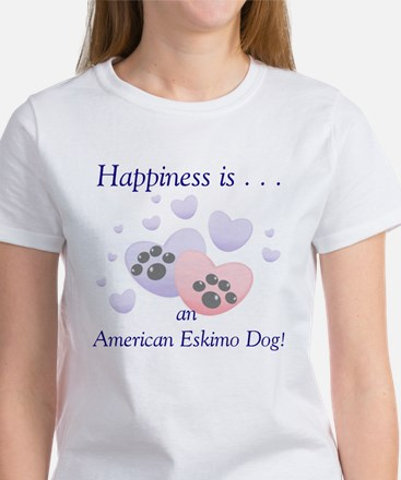 Happiness is...an American Eskimo Dog Women's T-Sh