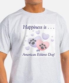 Happiness is...an American Eskimo Dog Ash Grey T-S
