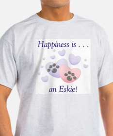Happiness is...an Eskie Ash Grey T-Shirt