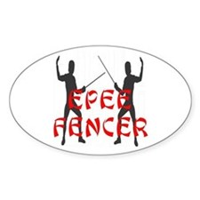 Epee Fencer Oval Decal
