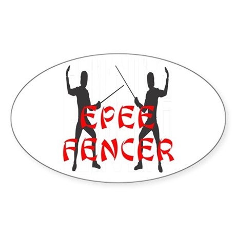 Epee Fencer Oval Sticker