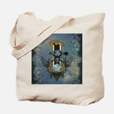 Awesome skull with crow in blue colors Tote Bag