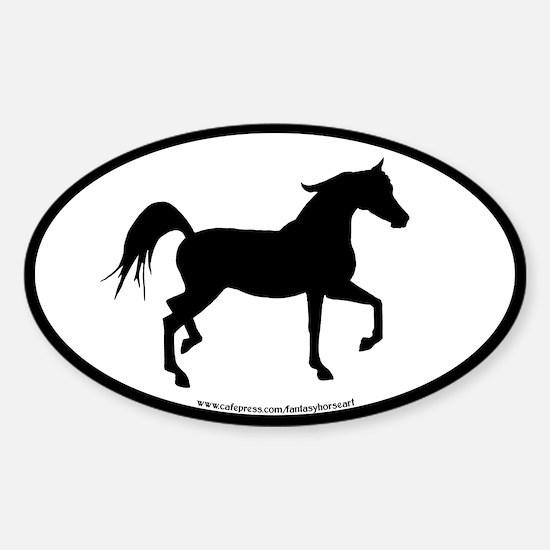 Arabian Horse Oval (blk border) Oval Decal