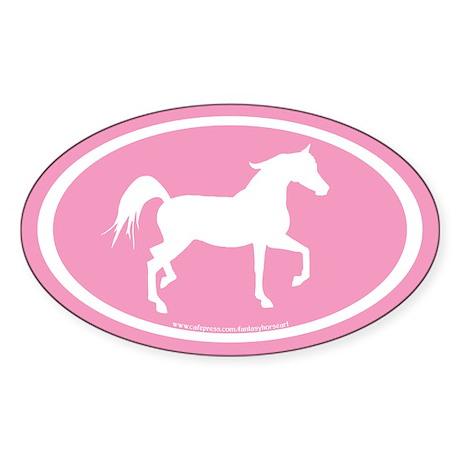 Arabian Horse Oval (wh/pink) Oval Sticker