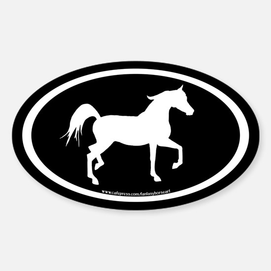 Arabian Horse Oval (wh/blk) Oval Decal