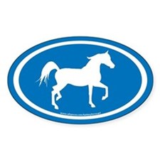 Arabian Horse Oval (wh/blue) Oval Decal