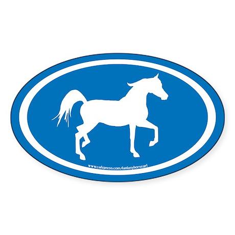 Arabian Horse Oval (wh/blue) Oval Sticker