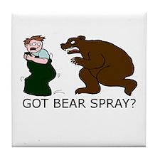 Funny Camping Bear Tile Coaster