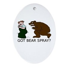 Funny Camping Bear Oval Ornament