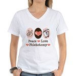 Peace Love Phlebotomy Women's V-Neck T-Shirt