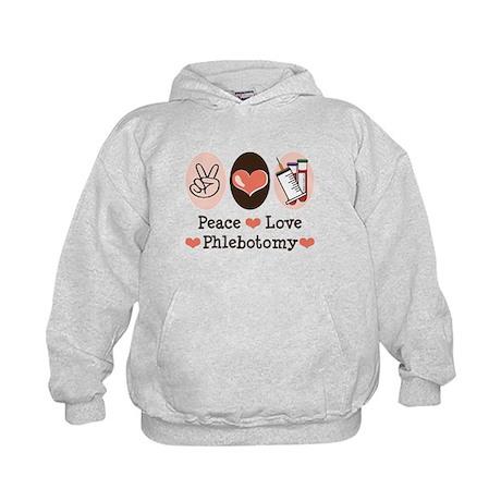 Peace Love Phlebotomy Kids Hoodie