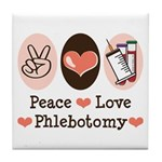 Peace Love Phlebotomy Tile Coaster