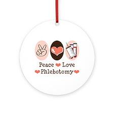 Peace Love Phlebotomy Ornament (Round)