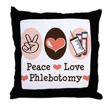 Peace Love Phlebotomy Throw Pillow