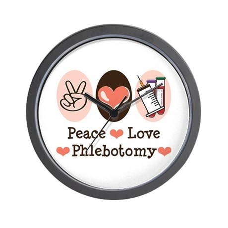 Peace Love Phlebotomy Wall Clock