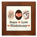 Peace Love Phlebotomy Framed Tile