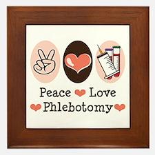 Peace Love Phlebotomy Framed Tile