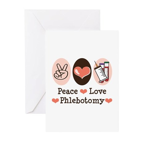 Peace Love Phlebotomy Greeting Cards (Pk of 20)
