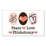 Peace Love Phlebotomy Rectangle Sticker