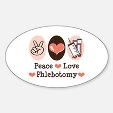 Peace Love Phlebotomy Oval Decal