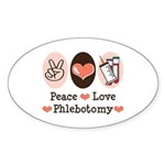 Peace Love Phlebotomy Oval Sticker
