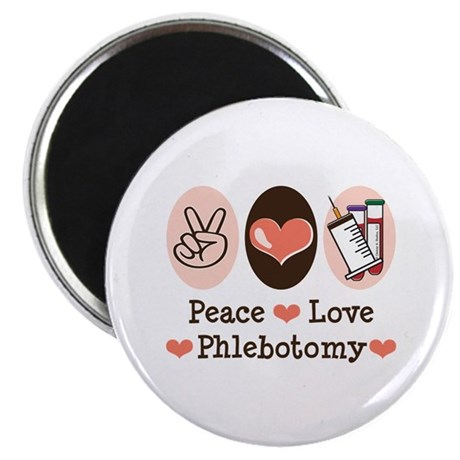 """Peace Love Phlebotomy 2.25"""" Magnet (100 pack)"""