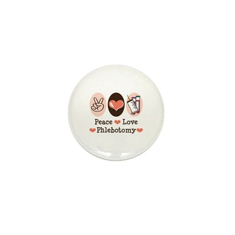 Peace Love Phlebotomy Mini Button (10 pack)