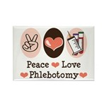 Peace Love Phlebotomy Rectangle Magnet (100 pack)