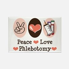 Peace Love Phlebotomy Rectangle Magnet