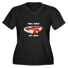Real Girls Eat Meat Women's Plus Size V-Neck Dark