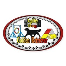 Golden Retriever Agility Oval Sticker (10 pk)