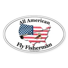 All American Fly Fisherman Oval Decal