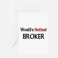World's Hottest Broker Greeting Cards (Pk of 10)