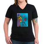 1 cute chick Women's V-Neck Dark T-Shirt
