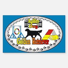 Agility Golden Retriever Rectangle Sticker 10 pk)